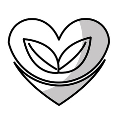 Heart with leafs plant icon vector