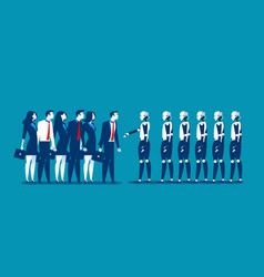 human vs robotbusinesspeople standing with robot vector image