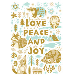 Love peace and joy greeting card woodland vector