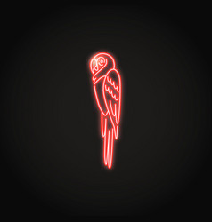 Macaw parrot icon in glowing neon style vector