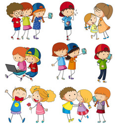 Many kids using computer and cellphone vector