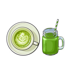 Matcha green tea latte and smoothie drinks vector