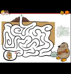 Maze activity with mole animal vector