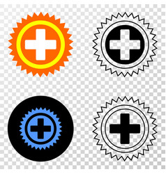 medical cross eps icon with contour version vector image