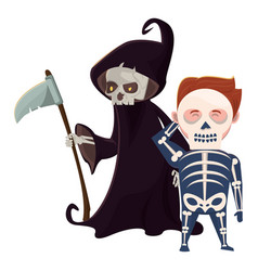 Men with halloween skull and death costumes vector