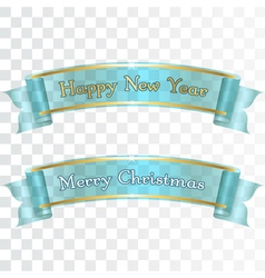 Merry Christmas Happy New Year ribbons vector