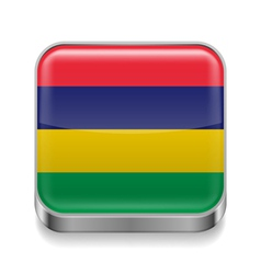 Metal icon of mauritius vector