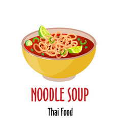 Noodle thai soup icon spicy tasty dish in vector