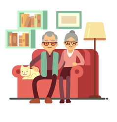 Old happy family - husband and wife on sofa at vector