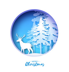 paper cut deer in snowy forest and landscape vector image