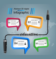 pen education icon business infographic vector image