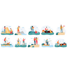 people hikers active hiking tourists outdoor vector image