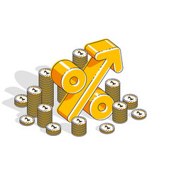 percentage rate income profit concept percent vector image