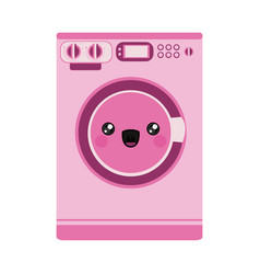 Pink color silhouette of cartoon washing machine vector