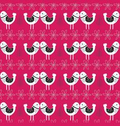 pink scandinavian love birds pattern design vector image