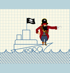 pirate on ship painted ship and buccaneer scary vector image