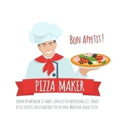 Pizza maker label vector image
