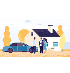 property concept happy young couple buys a house vector image