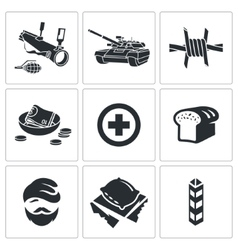 Refugees and fighting Icons Set vector