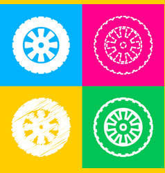 Road tire sign four styles of icon on four color vector
