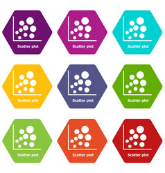 Scatter plot icons set 9 vector