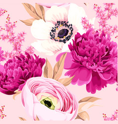 Seamless pattern with peony and ranunculus vector
