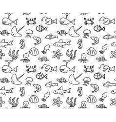 seamless sea animal life in ocean pattern vector image
