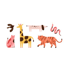 Set doodle abstract trendy wild animals and vector