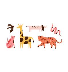 Set doodle abstract trendy wild animals vector