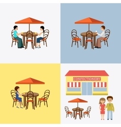 Set of people in cafe vector image