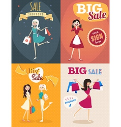 Set of sale posters in retro style girl or woman vector