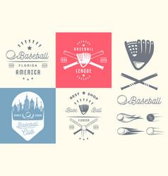 set vintage baseball labels and badges vector image
