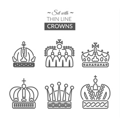 Set with thin line icons with different crowns vector image