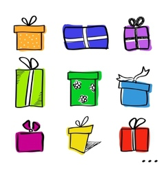 Sketch gift boxes set vector image