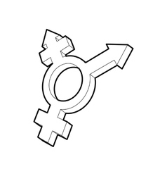 Transgender simbol icon outline style vector