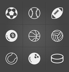 trendy sport balls icons on black vector image