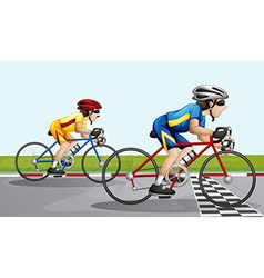 Two bikers racing vector image