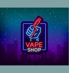 Vape shop neon sign billboard vector