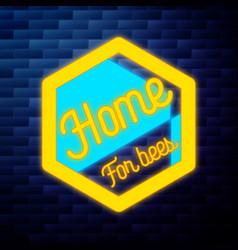 vintage honey emblem glowing neon vector image