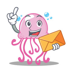 With envelope cute jellyfish character cartoon vector