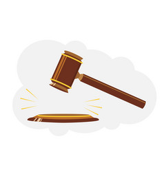 Wooden judge hammer sign of law and justice vector
