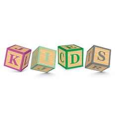 Word KIDS written with alphabet blocks vector image