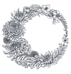 Wreath with hand drawn chrysanthemum vector