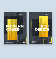 Yellow brochure design a4 cover template for vector