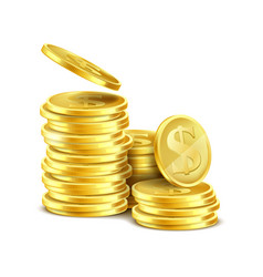 3d realistic stack of gold coins vector image vector image