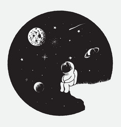 astronaut looks to universe vector image vector image