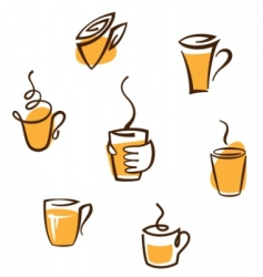 coffee cup signs vector image vector image