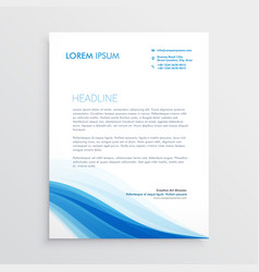 Creative blue wavy shape letterhead design vector