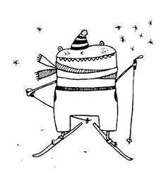 Fun skiing character monster cartoon outline vector image