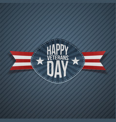 Happy veterans day greeting emblem vector